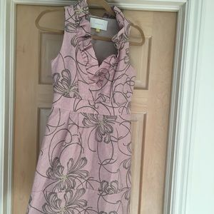 Anthropologie Leifsdottir pink/gray floral dress